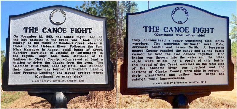 Canoe Fight marker near Gainestown, Alabama. image. Click for full size.