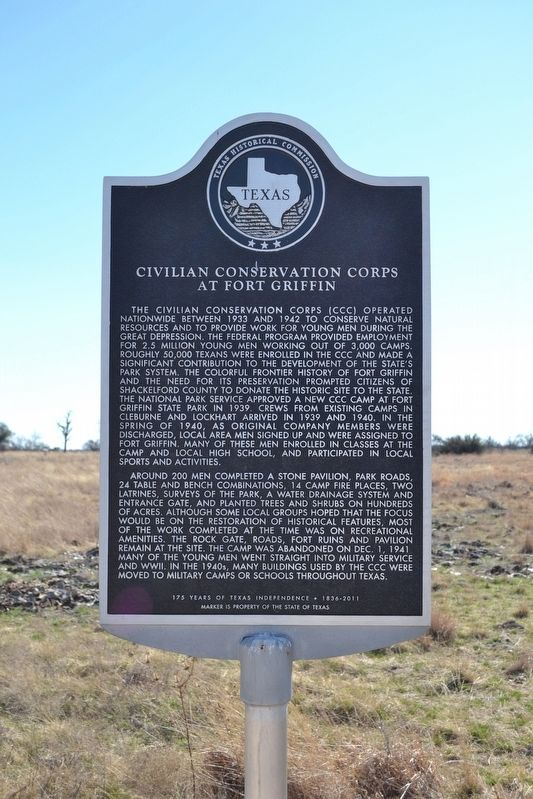 Civilian Conservation Corps at Fort Griffin Marker image. Click for full size.