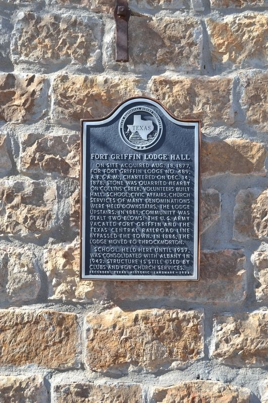 Fort Griffin Lodge Hall Marker image. Click for full size.