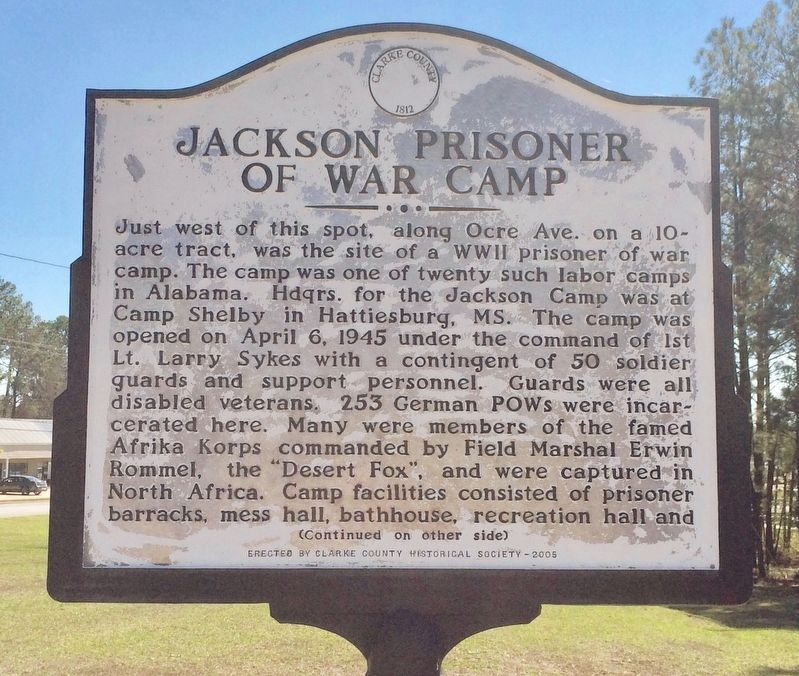 Jackson Prisoner of War Camp Marker (Side 1) image. Click for full size.