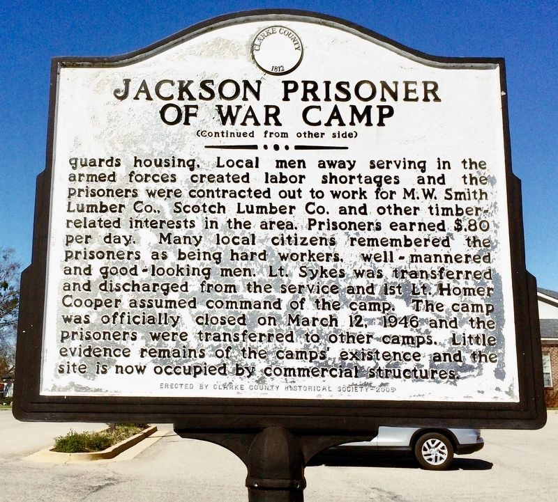 Jackson Prisoner of War Camp Marker (Side 2) image. Click for full size.