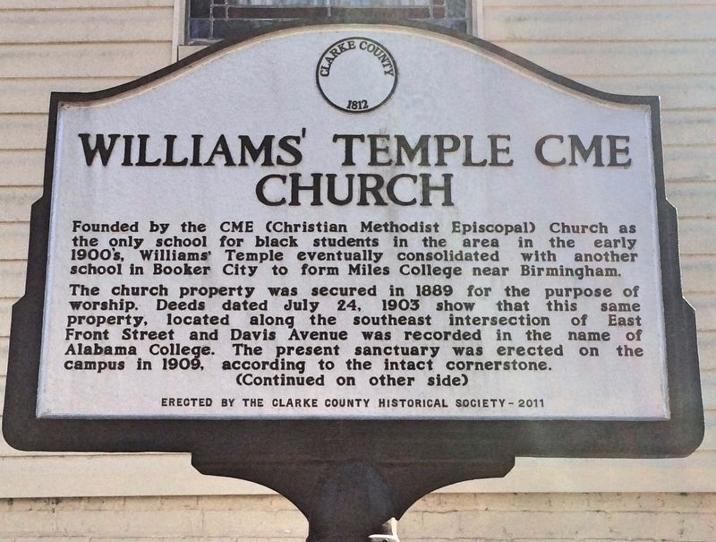 Williams' Temple CME Church Marker (Side 1) image. Click for full size.