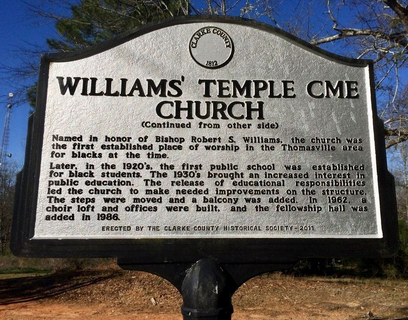 Williams' Temple CME Church Marker (Side 2) image. Click for full size.