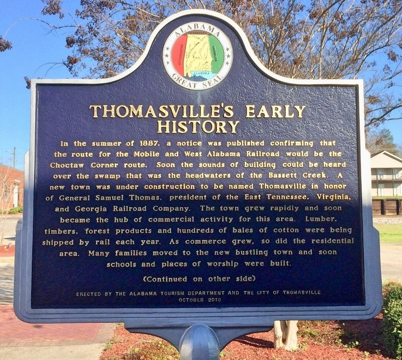 Thomasville's Early History Marker (Side 1) image. Click for full size.