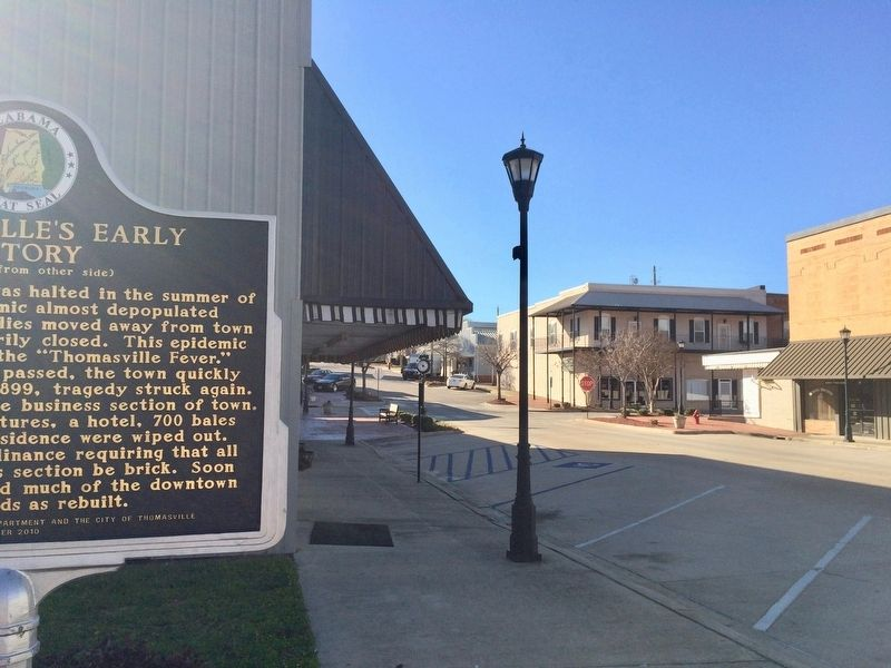 Thomasville's Early History Marker looking west on Wilson Avenue. image. Click for full size.