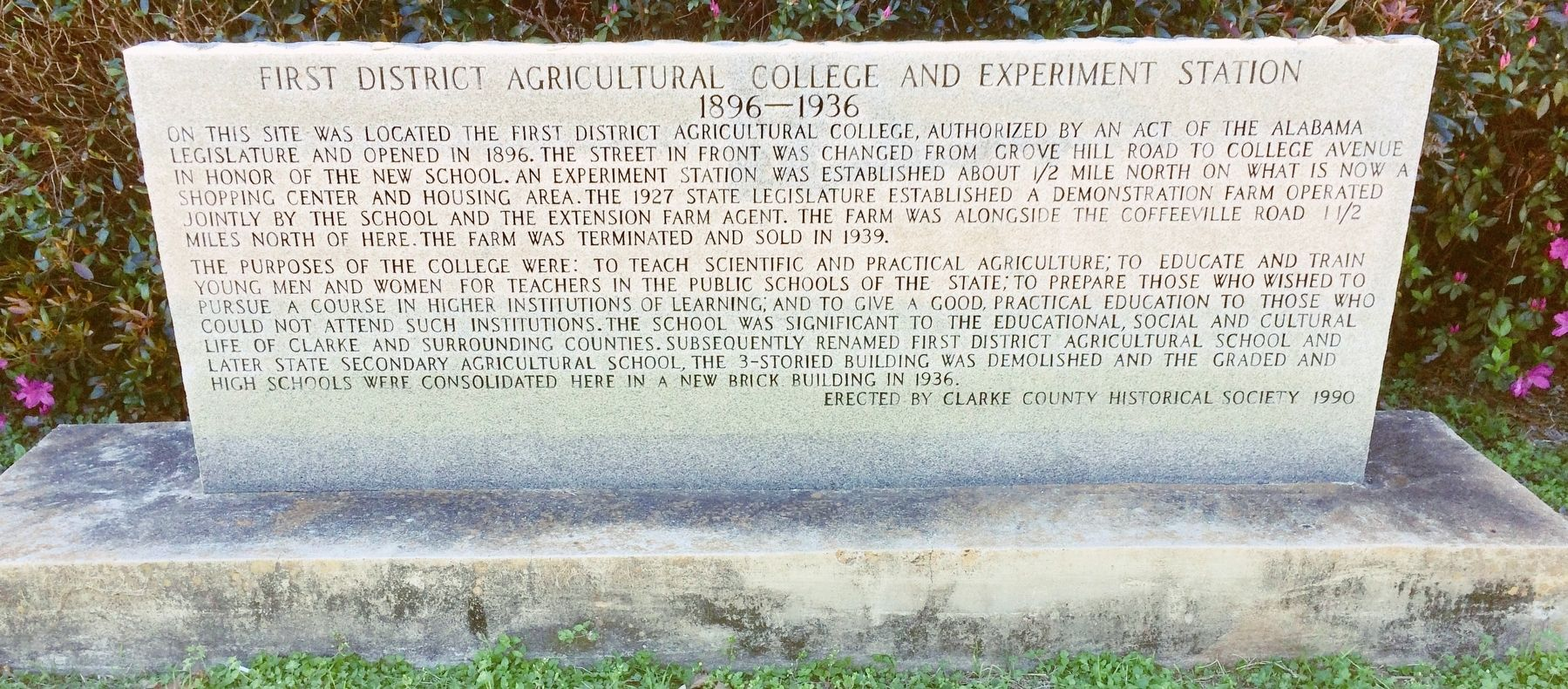First District Agricultural College and Experiment Station Marker image. Click for full size.