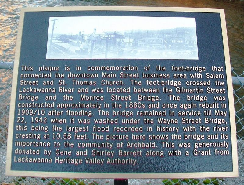 Lackawanna River Foot-Bridge Marker image. Click for full size.