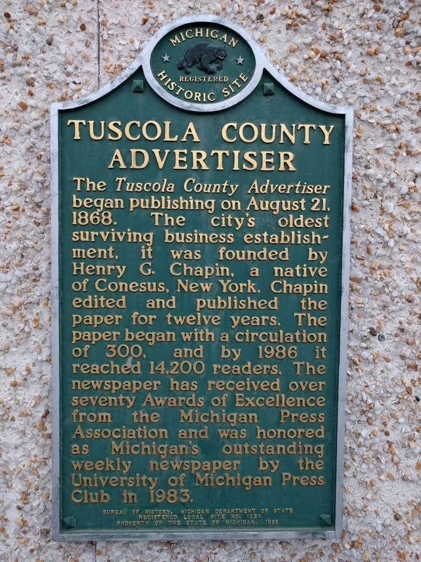 Tuscola County Advertiser Marker image. Click for full size.