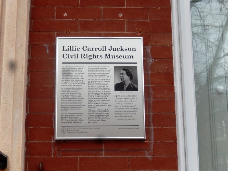 Lillie Carroll Jackson Civil Rights Museum Marker image. Click for full size.