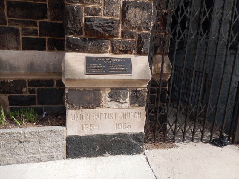 Union Baptist Church Corner Stone 1854-1905 image. Click for full size.