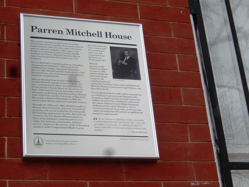 Parren Mitchell House Marker image. Click for full size.