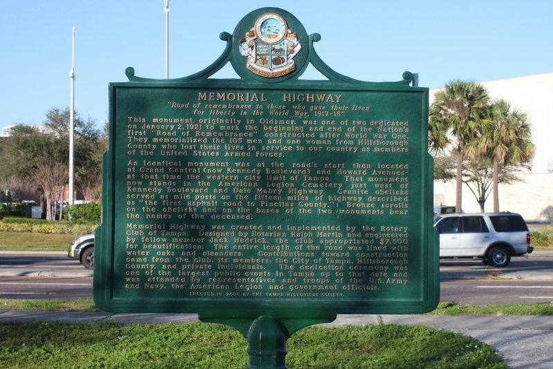 Memorial Highway Marker image. Click for full size.