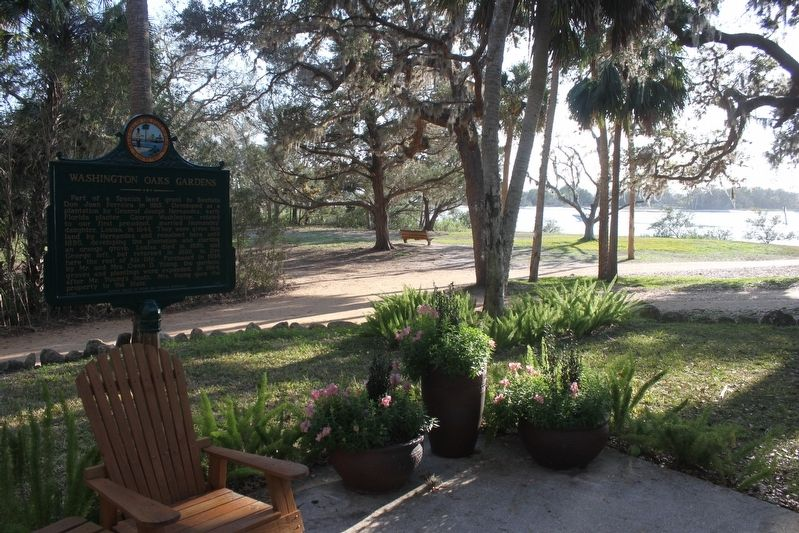 Washington Oaks Gardens Marker with Intercoastal Waterway in background. image. Click for full size.