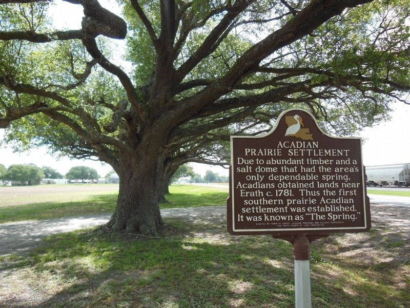 Acadian Prairie Settlement Marker (<b><i>wide view</b></i>) image. Click for full size.