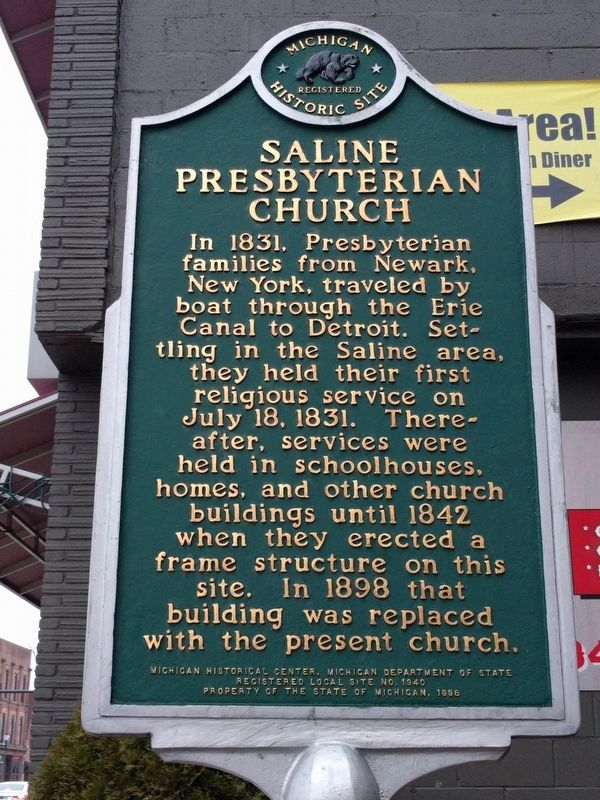 Saline Presbyterian Church Marker (Side 1) image. Click for full size.