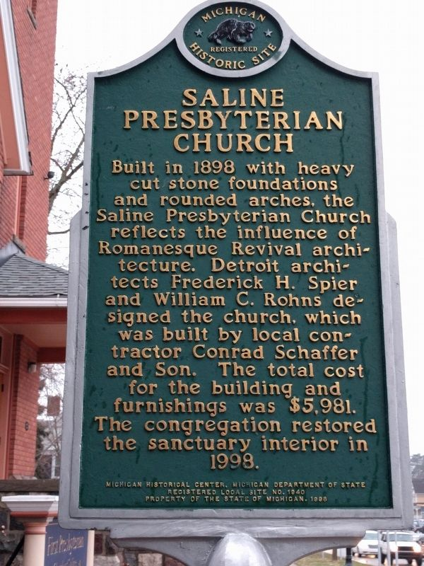 Saline Presbyterian Church Marker - Side 2 image. Click for full size.