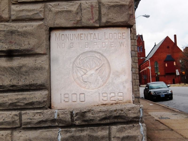The Elks Lodge-corner stone marker image. Click for full size.