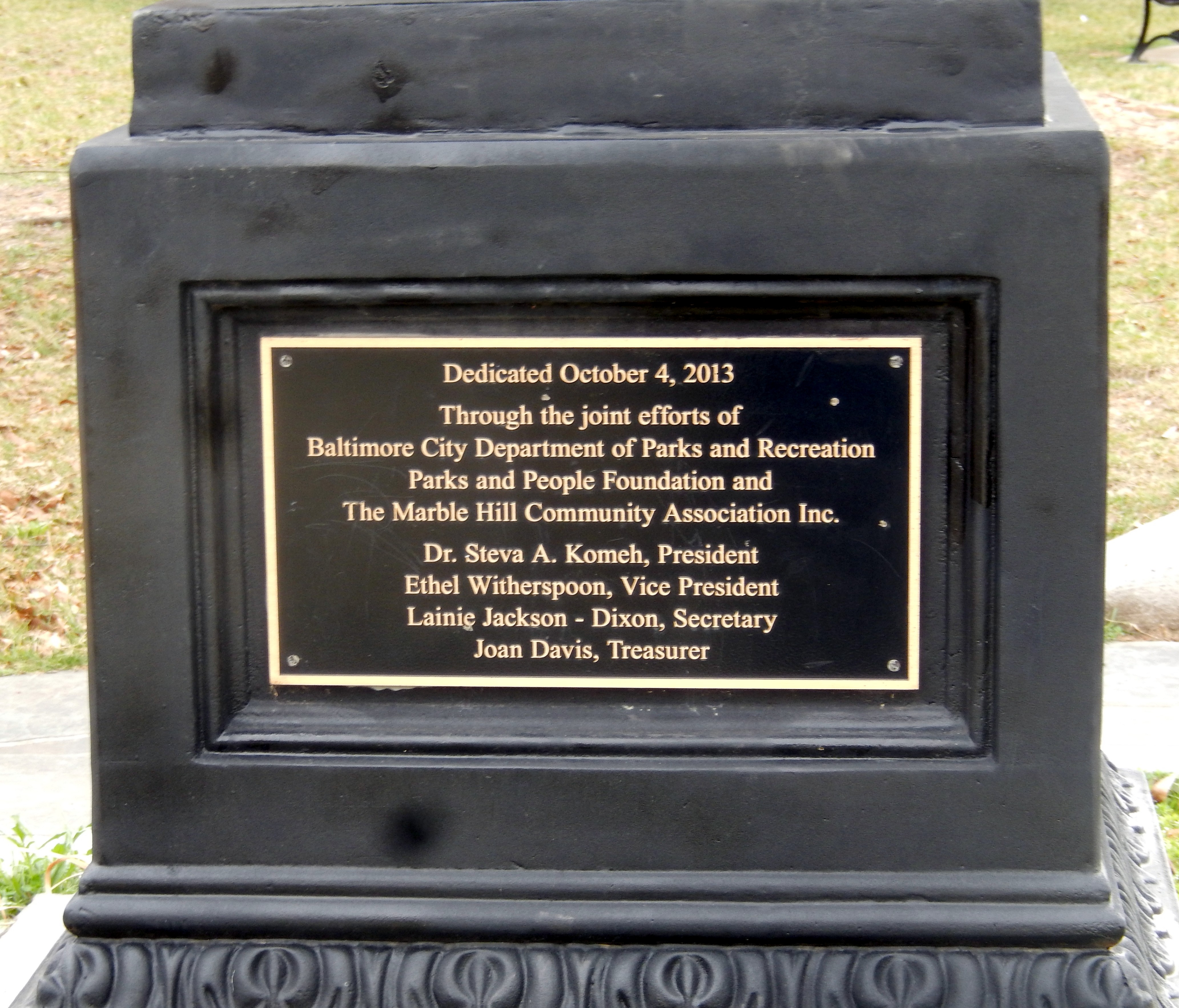 Rev. Dr. Vernon Nathaniel Dodson Memorial Marker-Left side Panel