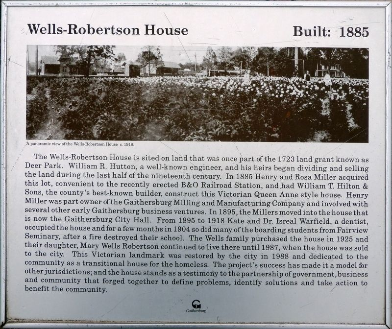 Wells-Robertson House Marker image. Click for full size.