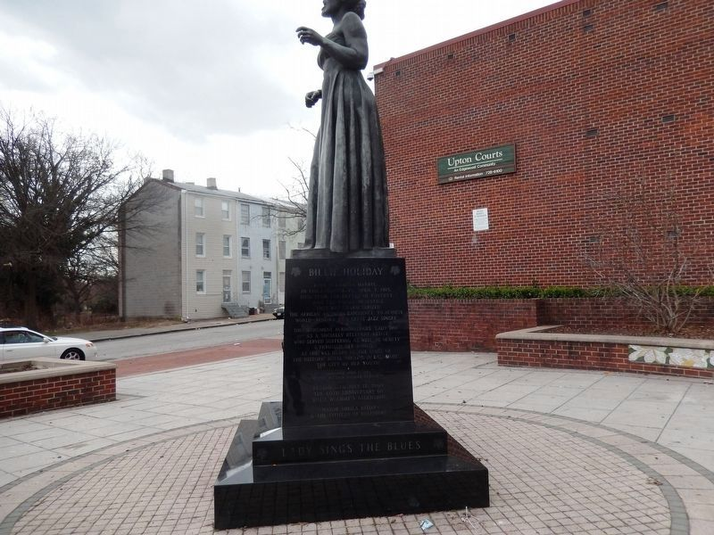 Billie Holiday Monument. Marker-Right side image. Click for full size.
