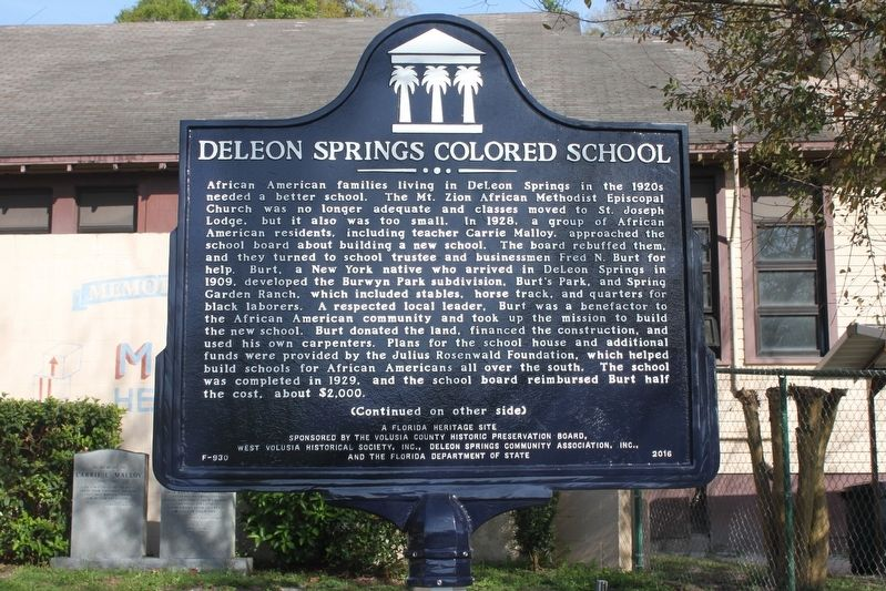 DeLeon Springs Colored School Marker Side 1 image. Click for full size.