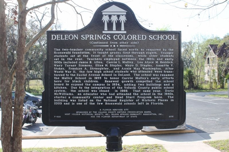 DeLeon Springs Colored School Marker Side 2 image. Click for full size.
