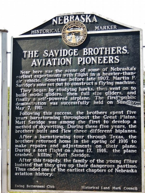 Savidge Brothers, Aviation Pioneers Marker image. Click for full size.