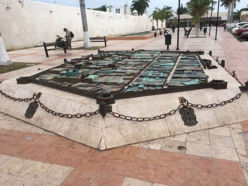 Nearby bronze map of the walled city of Campeche. image. Click for full size.