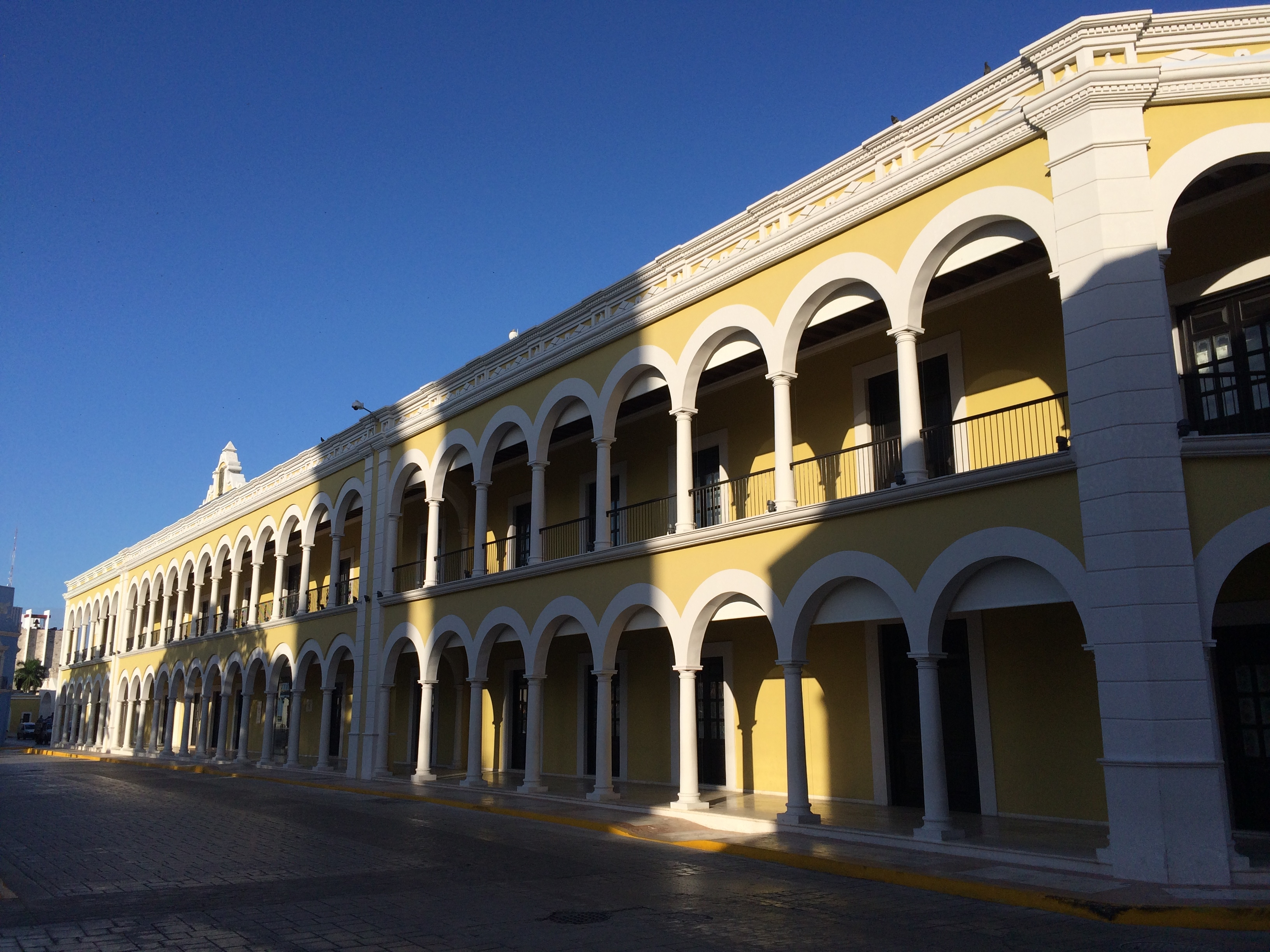 The nearby reconstructed Campeche Library and Cultural Center