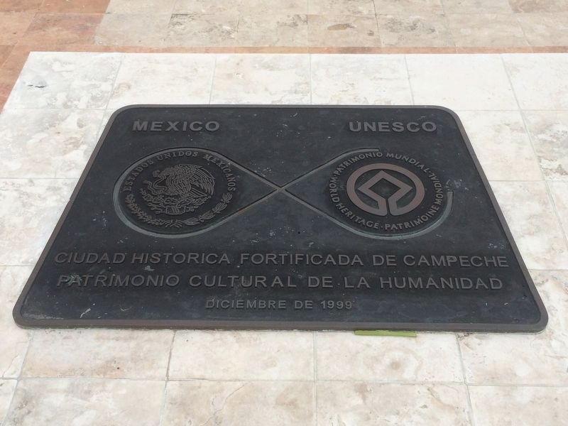 Campeche UNESCO World Heritage Site marker image. Click for full size.