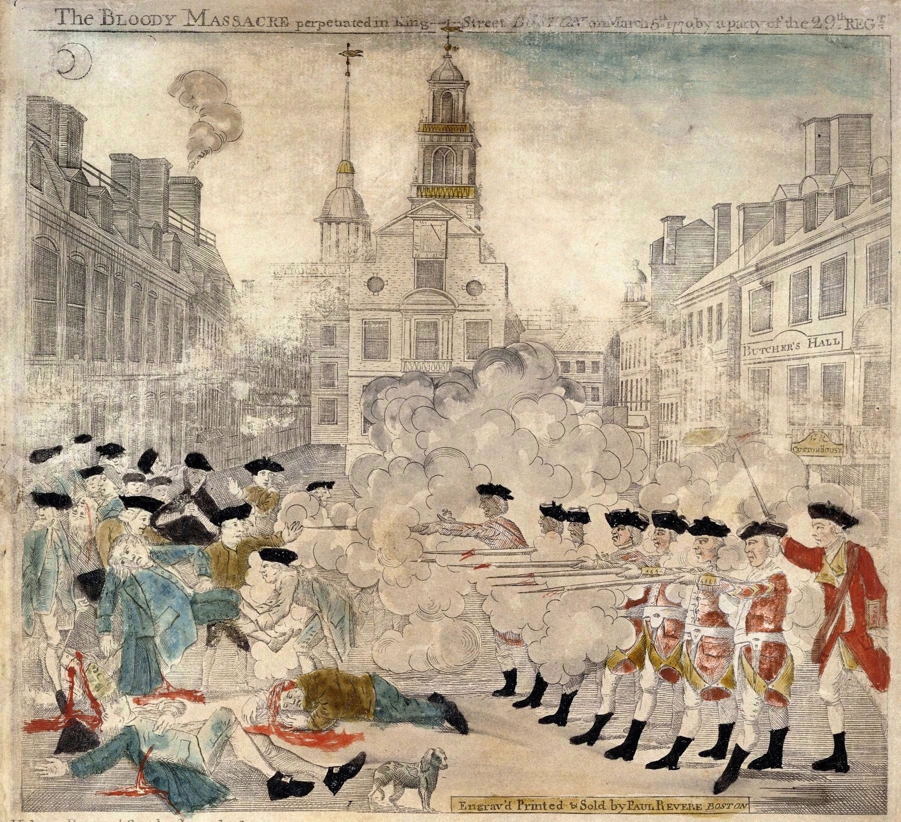 Engraving of the Boston Massacre by Paul Revere image. Click for full size.