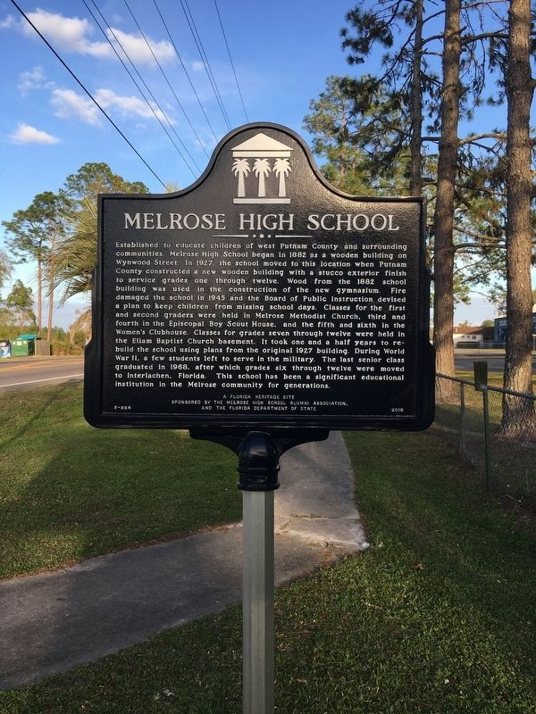 Melrose High School Marker image. Click for full size.
