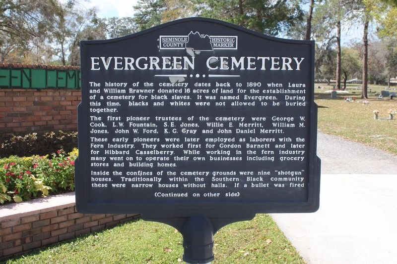 Evergreen Cemetery Marker Side 1 image. Click for full size.