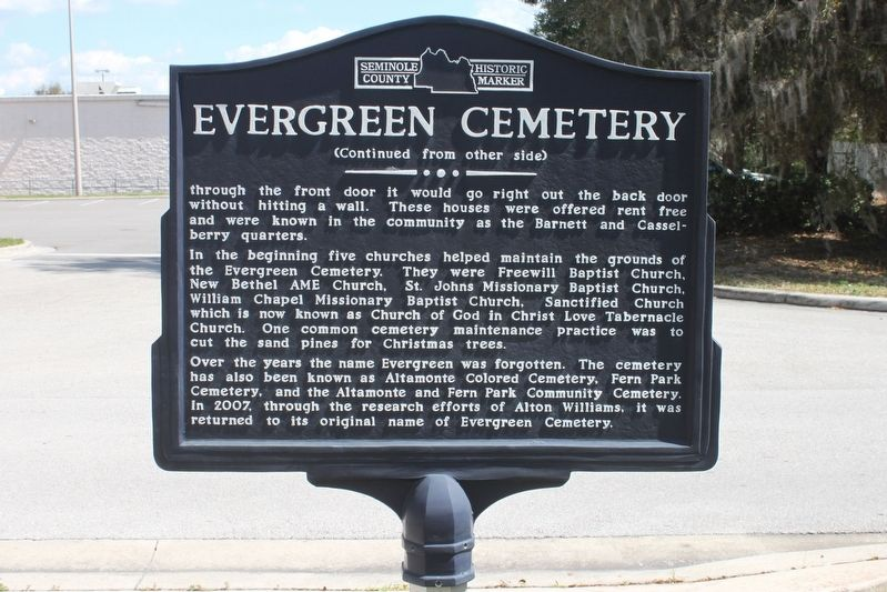 Evergreen Cemetery Marker Side 2 image. Click for full size.
