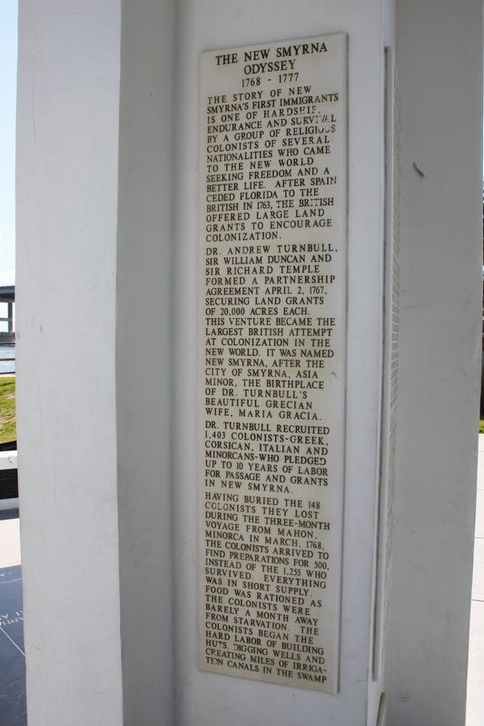 The New Smyrna Odyssey 1768-1777 Marker image. Click for full size.
