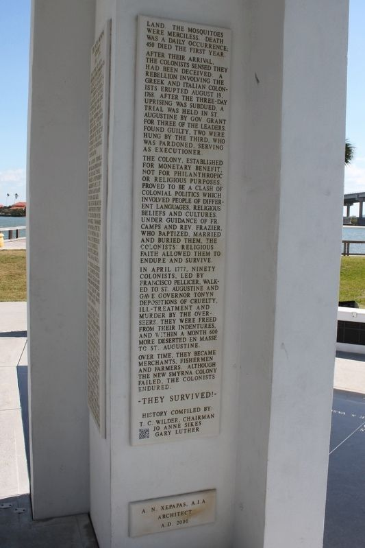 The New Smyrna Odyssey 1768-1777 Marker Side 2 image. Click for full size.
