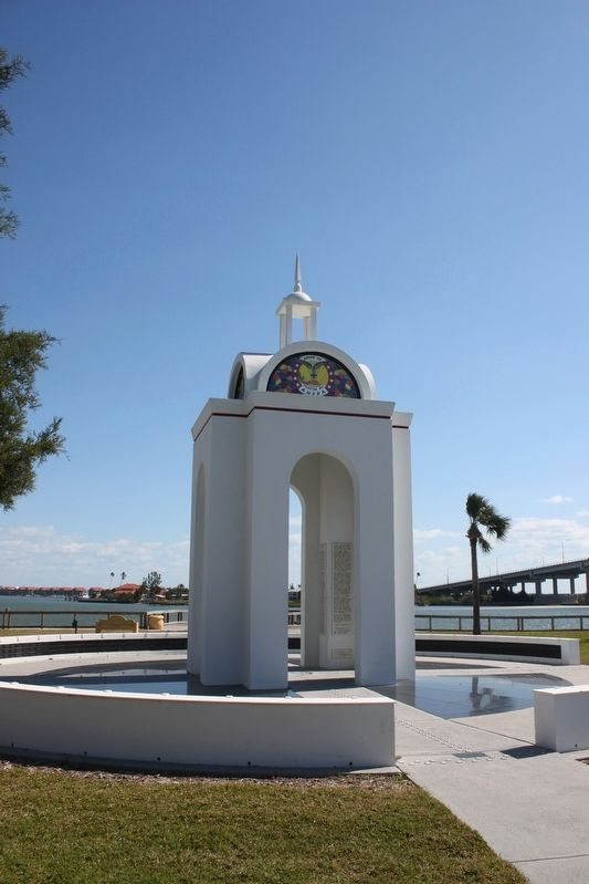 The New Smyrna Odyssey 1768-1777 Marker can be seen inside of memorial image. Click for full size.