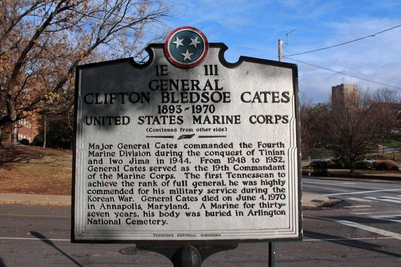 General Clifton Bledsoe Cates Marker (Side B) image. Click for full size.