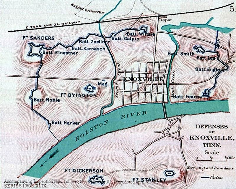 Knoxville Defenses - 1863 image. Click for full size.