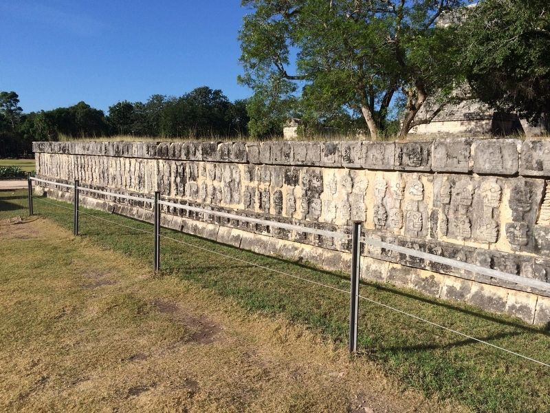 A nearby <i>tzompantli</i>, or wall of skulls. image. Click for full size.