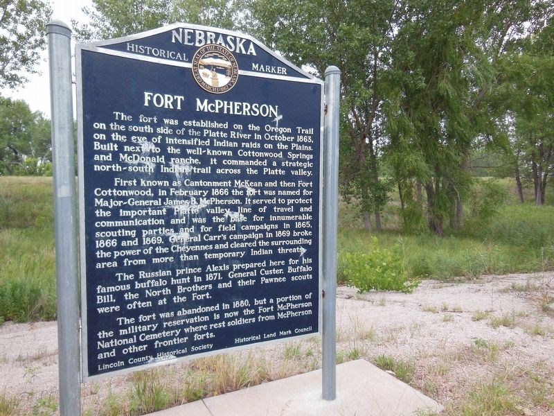 Fort McPherson Marker (<b><i>wide view</b></i>) image. Click for full size.