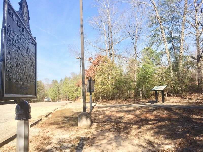 .Marker in distance, near trail leading to the Chattahoochee Indian Heritage Center Monument. image. Click for full size.