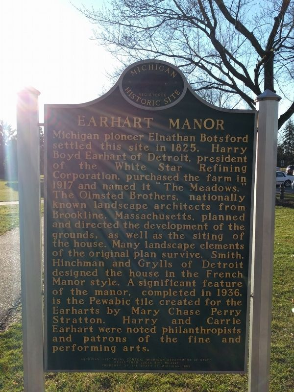 Earhart Manor Marker - Side 1 image. Click for full size.