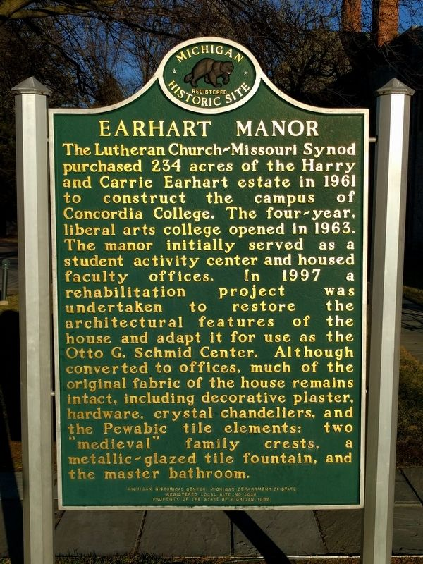 Earhart Manor Marker - Side 2 image. Click for full size.
