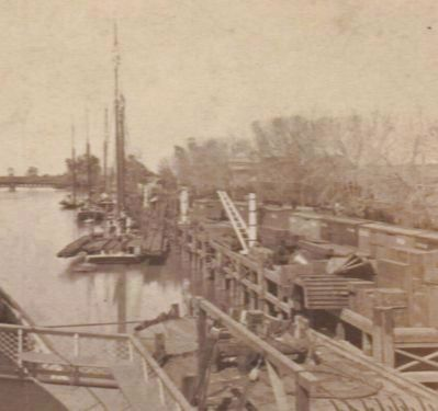 Scow Schooners Unloading Railroad Track at Sacramento image. Click for full size.