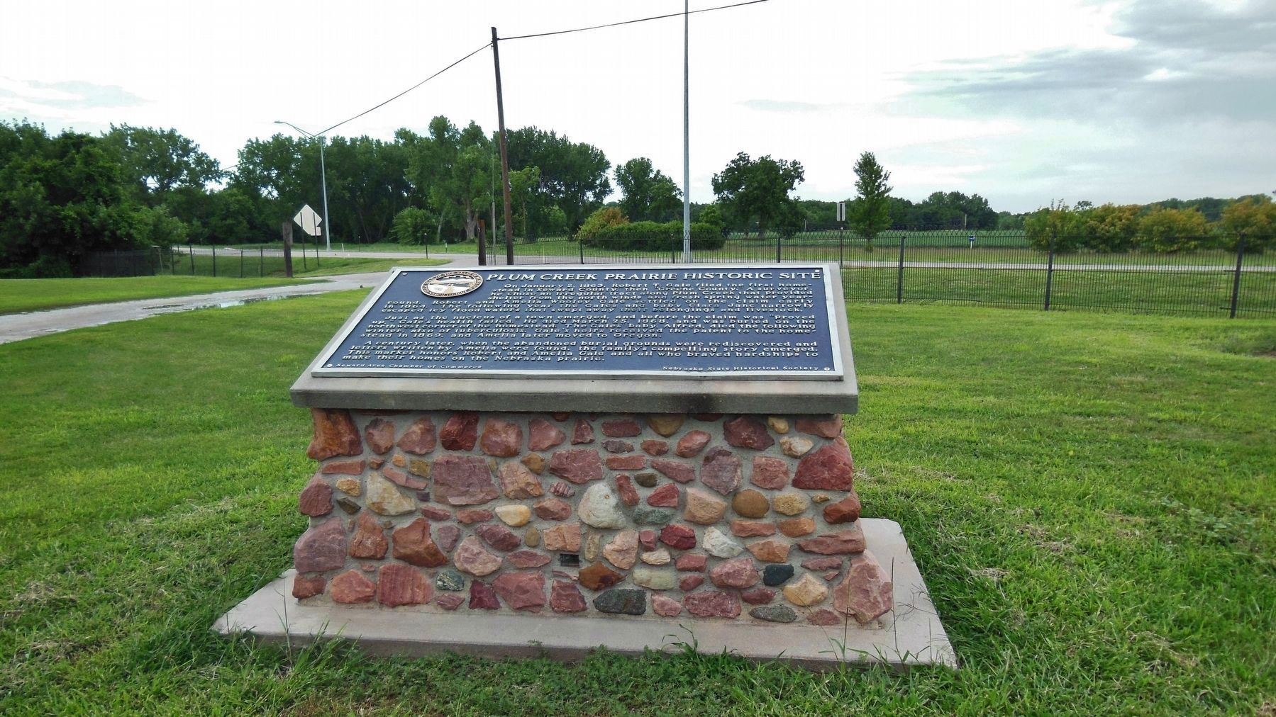 Plum Creek Prairie Historic Site Marker (<b><i>wide view</b></i>) image. Click for full size.