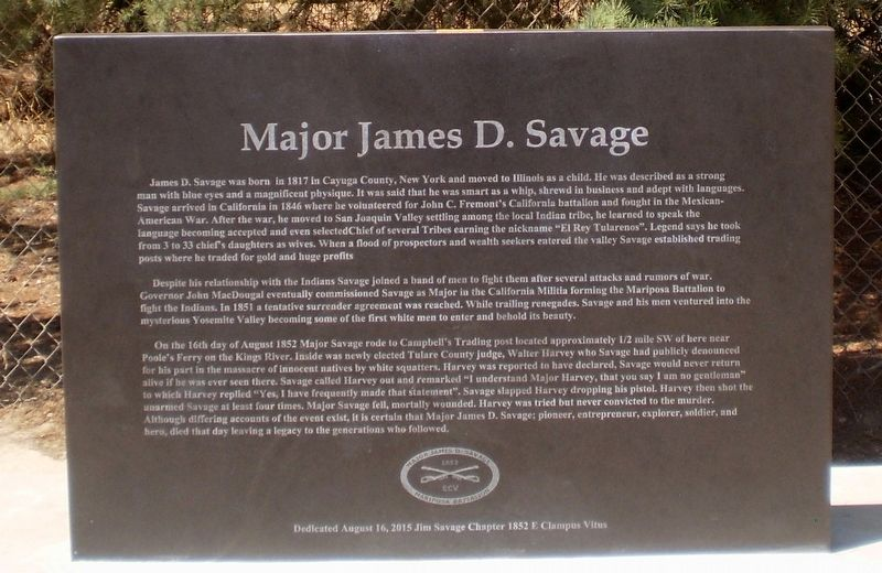 Major James D. Savage Marker image. Click for full size.
