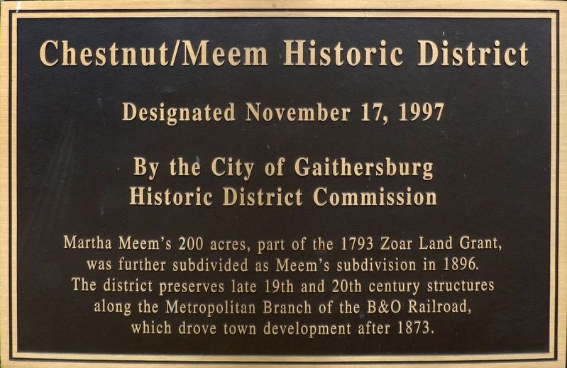 Chestnut/Meem Historic District Marker image. Click for full size.