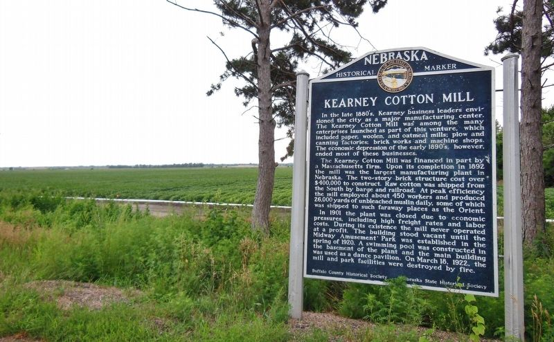 Kearney Cotton Mill Marker (<b><i>wide view</b></i>) image. Click for full size.