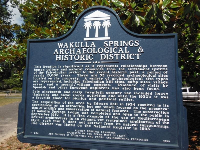Wakulla Springs Archaeological & Historic District Marker image. Click for full size.